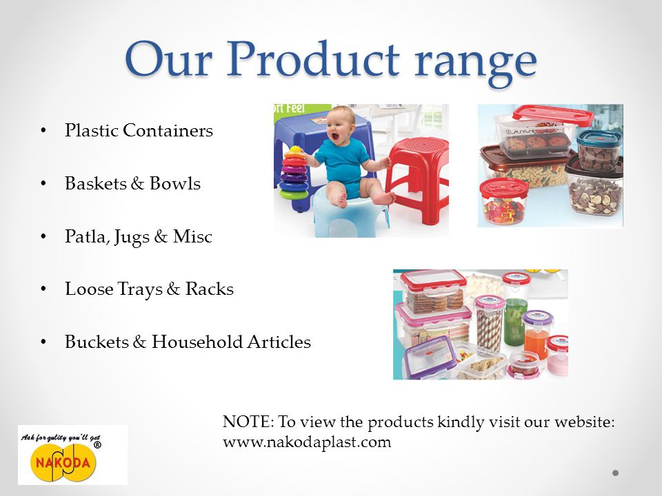 Our Product range Plastic Containers Baskets & Bowls