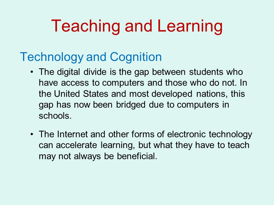 Teaching and Learning Technology and Cognition