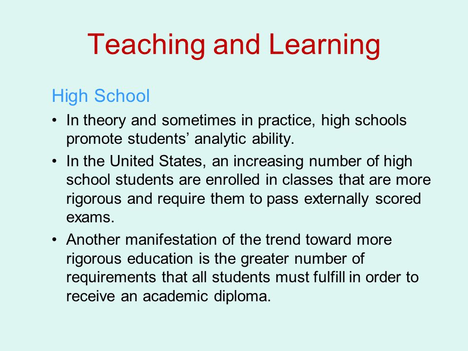 Teaching and Learning High School