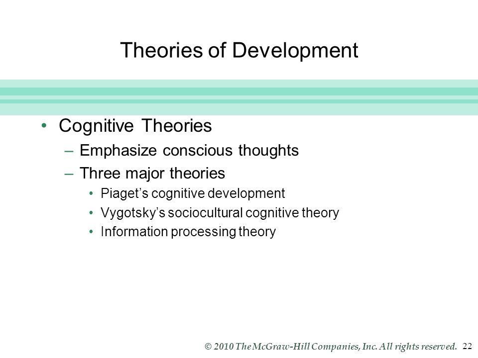an analysis of three main theories of development Learning theories are an organized set of principles explaining how individuals acquire, retain, and recall knowledge by studying and knowing the different learning theories, we can better understand how learning occurs.