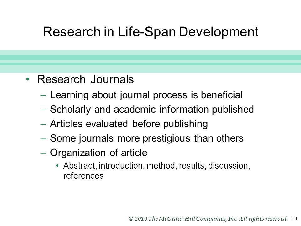 Research in Life-Span Development