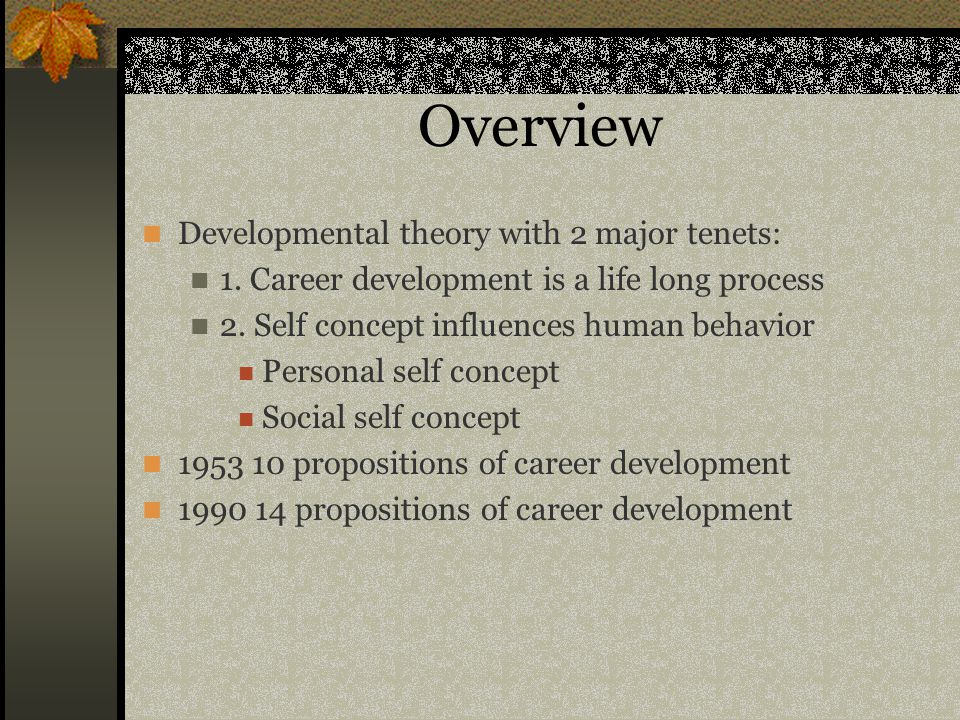 Overview Developmental theory with 2 major tenets:
