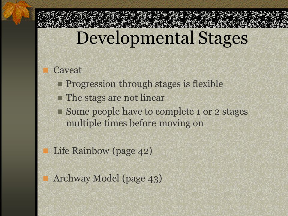 Developmental Stages Caveat Progression through stages is flexible