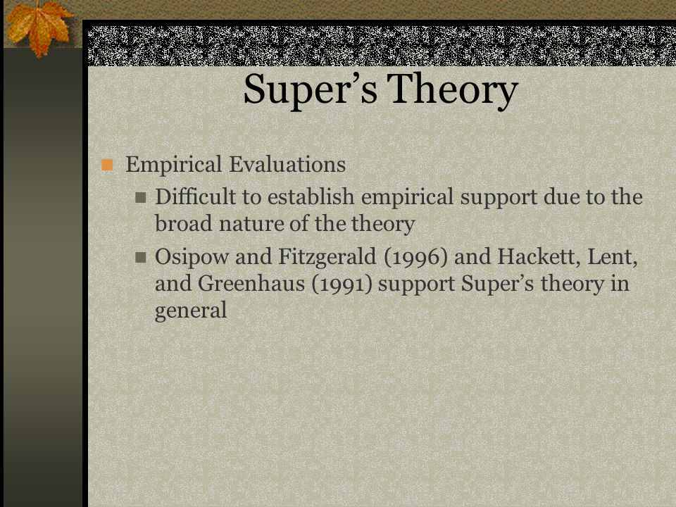 Super's Theory Empirical Evaluations