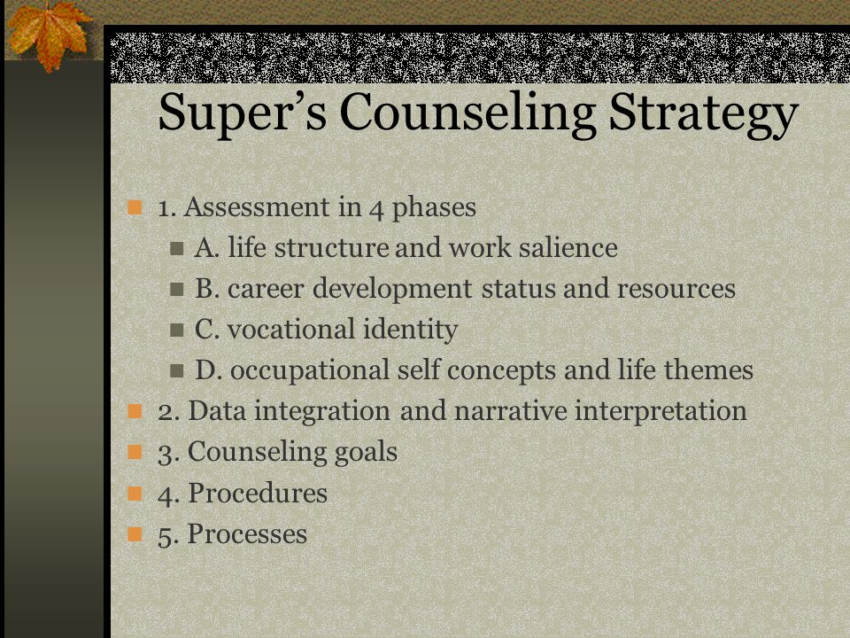 Super's Counseling Strategy