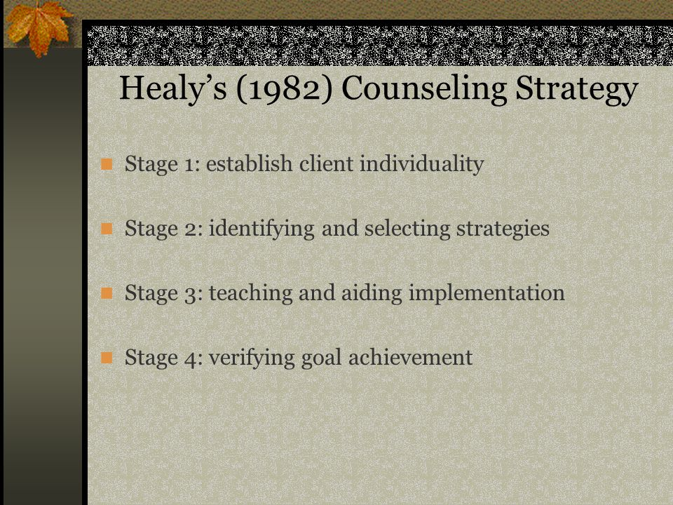 Healy's (1982) Counseling Strategy