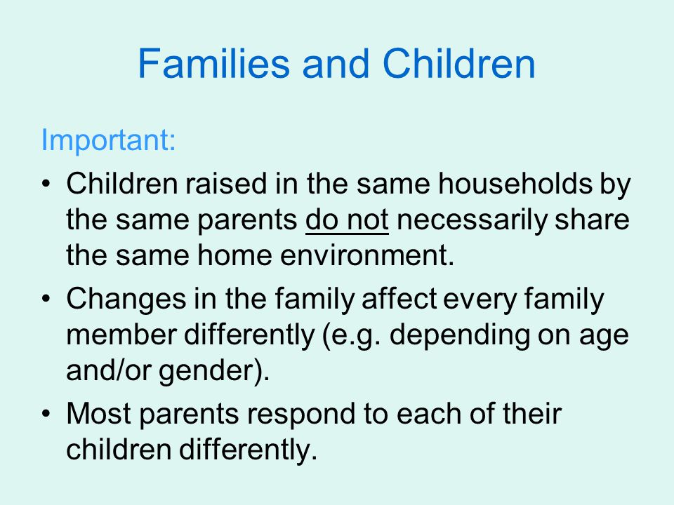 Families and Children Important: