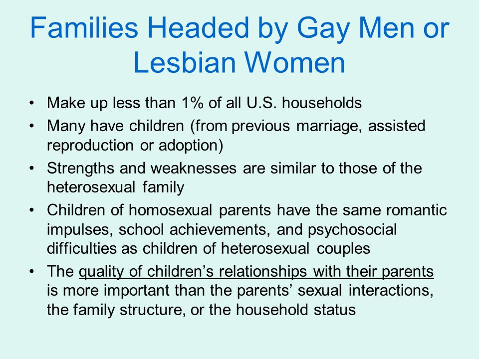 Families Headed by Gay Men or Lesbian Women