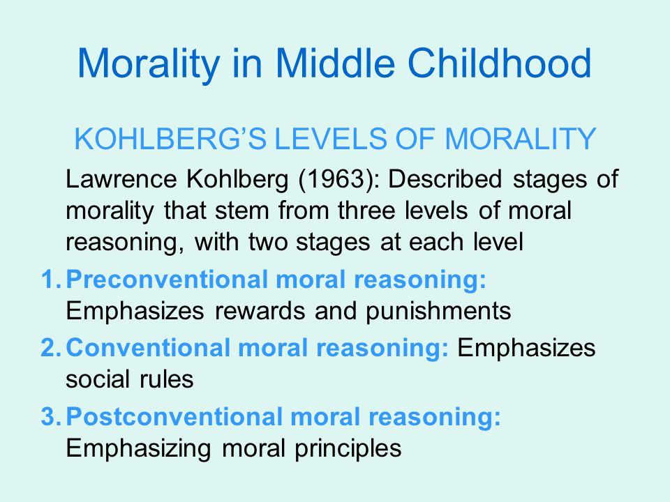 Morality in Middle Childhood