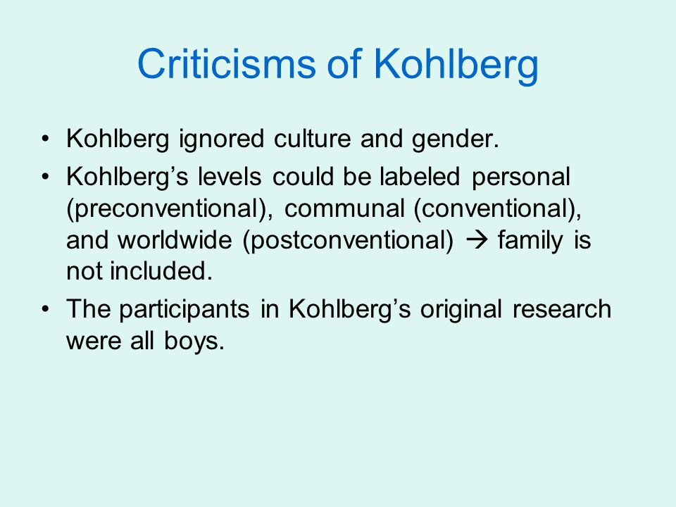 Criticisms of Kohlberg