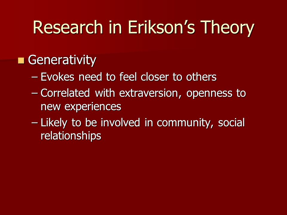 an analysis via eriksons theory Key elements of erikson's theoryerik erikson believed that we develop in psychosocial stages versus psychosexual stages that freud developed (santrock, 2008, p23) the word 'psychosocial' was erikson's term that he derived from the words psychological meaning mind and social meaning relationship (chapman, 2007.