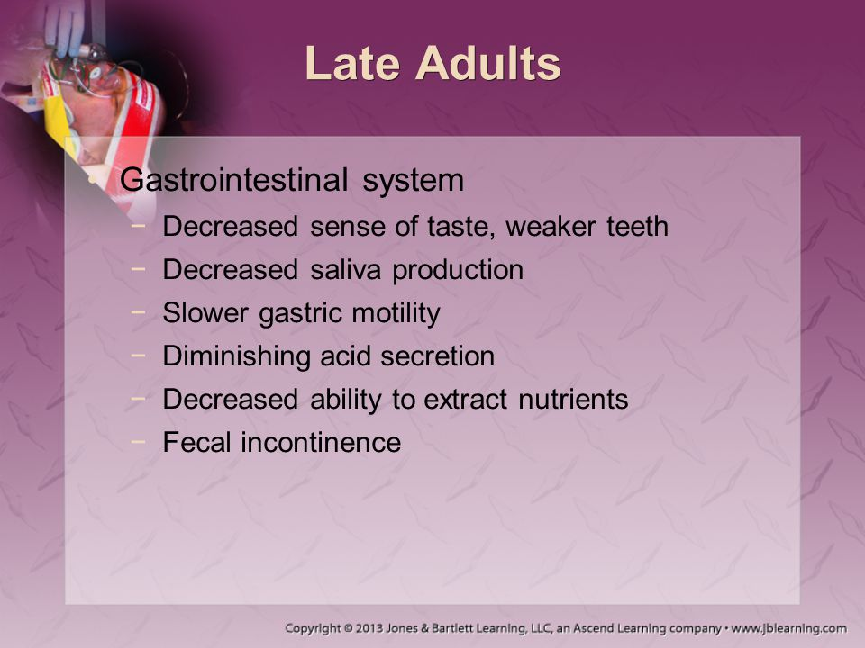 Late Adults Gastrointestinal system
