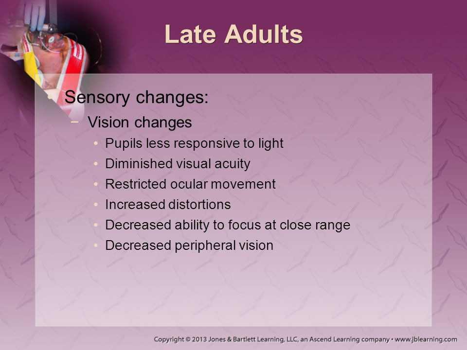 Late Adults Sensory changes: Vision changes
