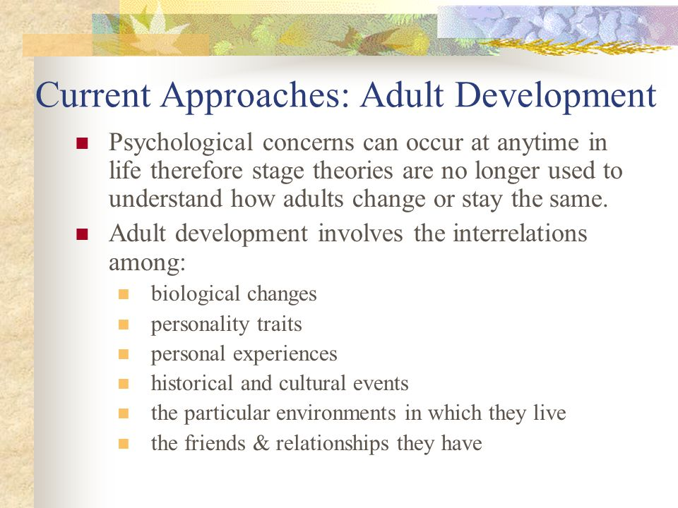 Current Approaches: Adult Development