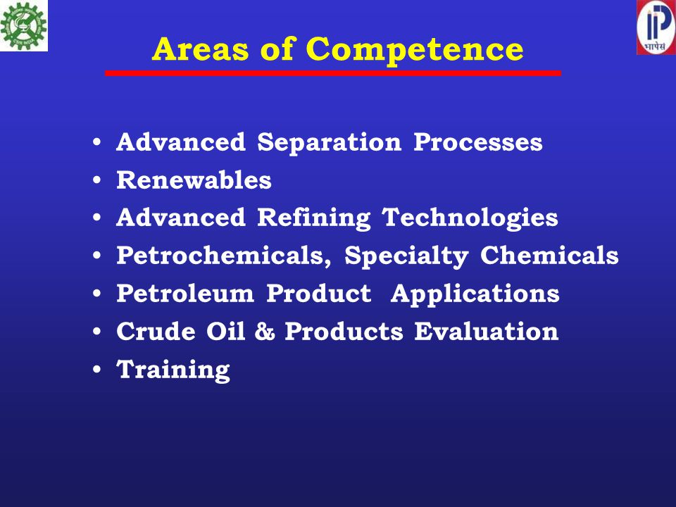 Areas of Competence Advanced Separation Processes Renewables