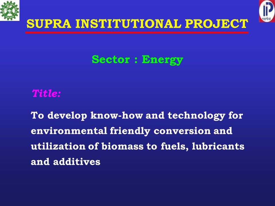 SUPRA INSTITUTIONAL PROJECT
