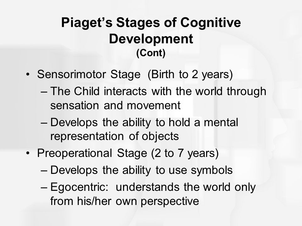 Piaget's Stages of Cognitive Development (Cont)