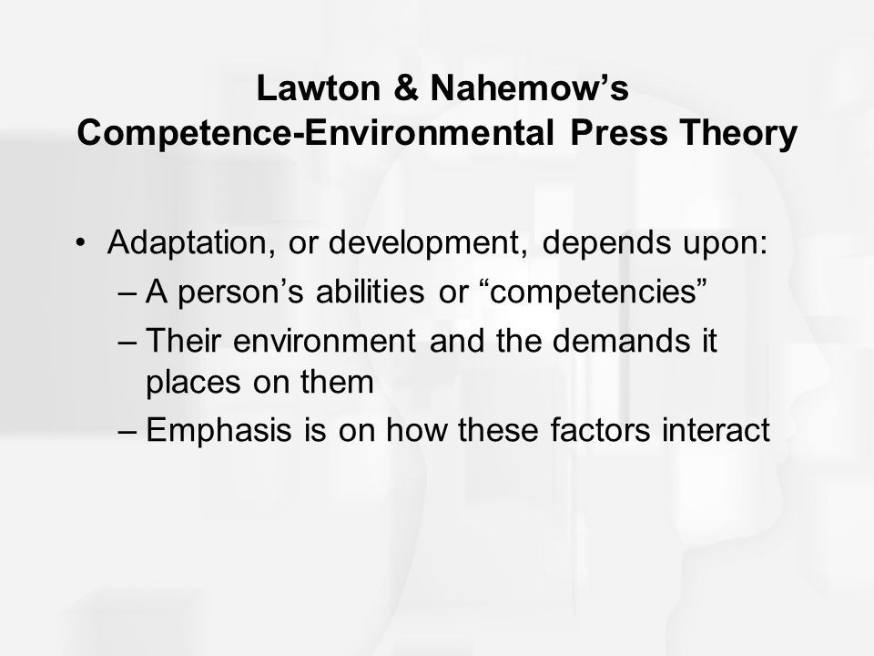 Lawton & Nahemow's Competence-Environmental Press Theory