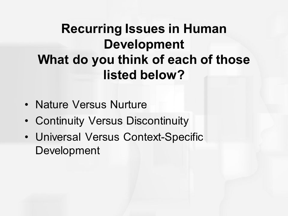 Recurring Issues in Human Development What do you think of each of those listed below