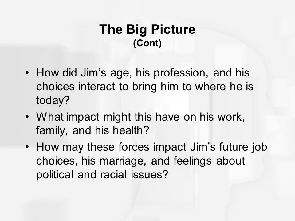 The Big Picture (Cont) How did Jim's age, his profession, and his choices interact to bring him to where he is today