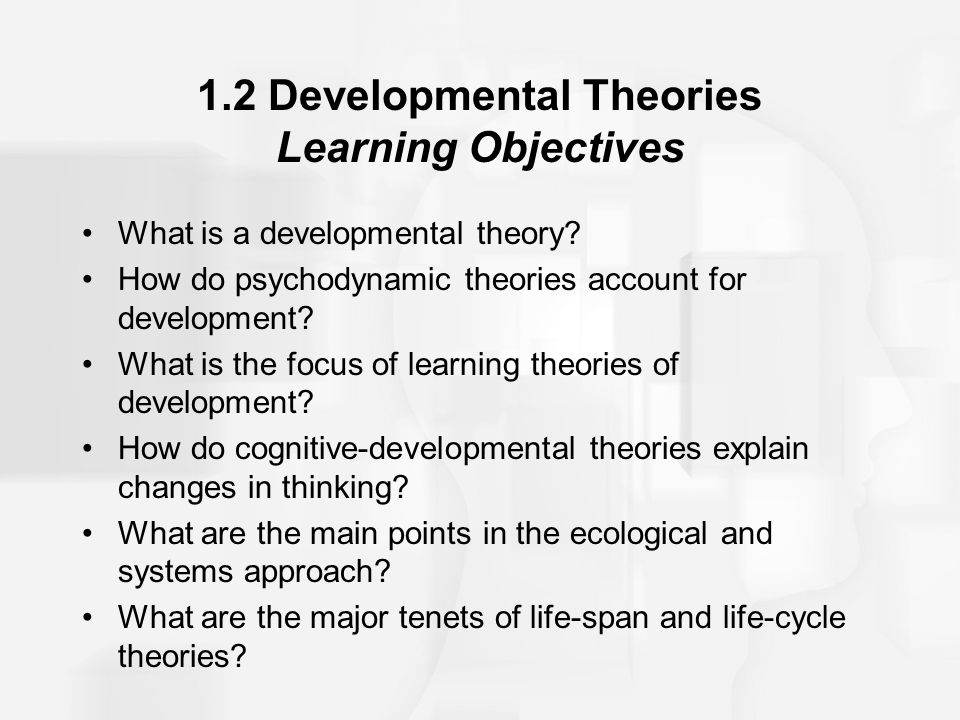 1.2 Developmental Theories Learning Objectives