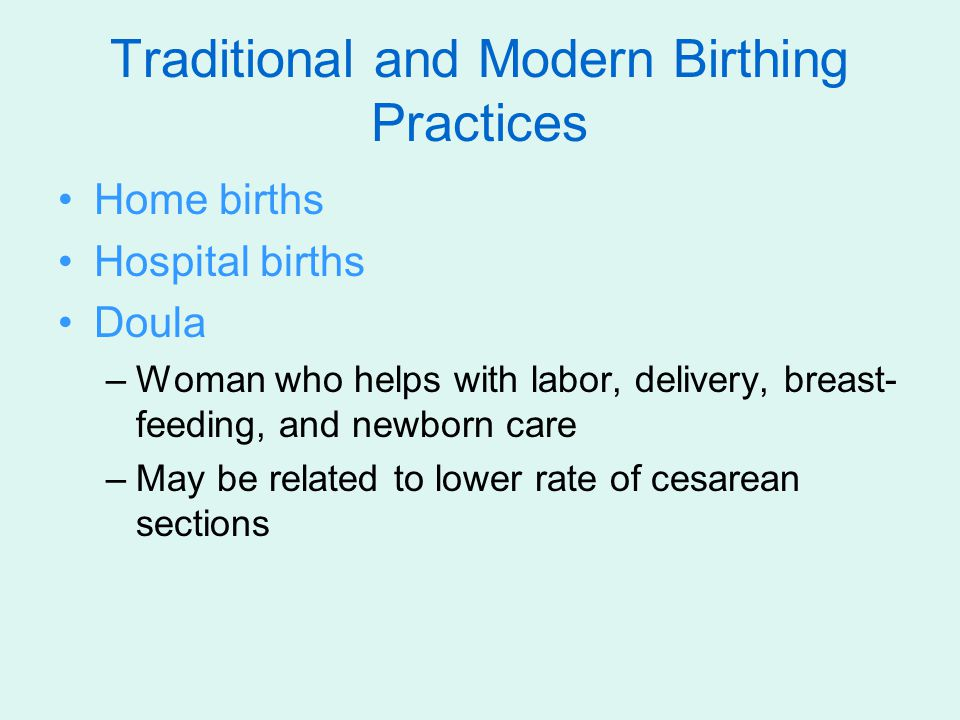 Traditional and Modern Birthing Practices