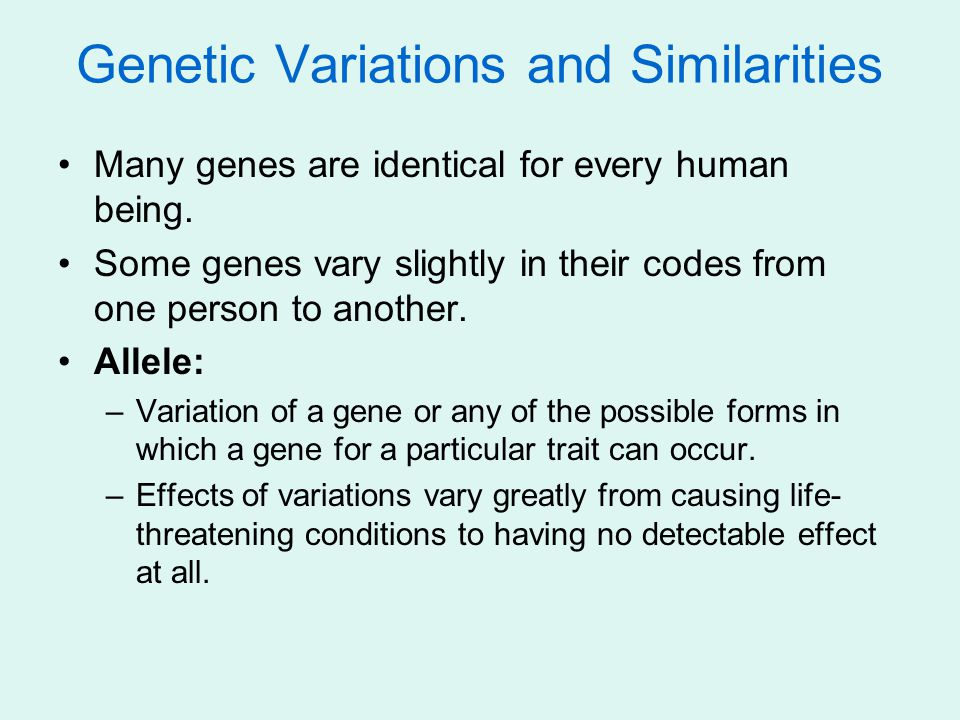 Genetic Variations and Similarities