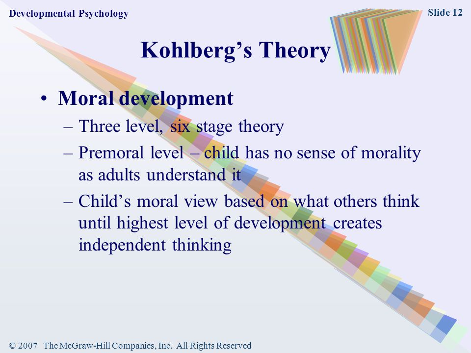 Kohlberg's Theory Moral development Three level, six stage theory