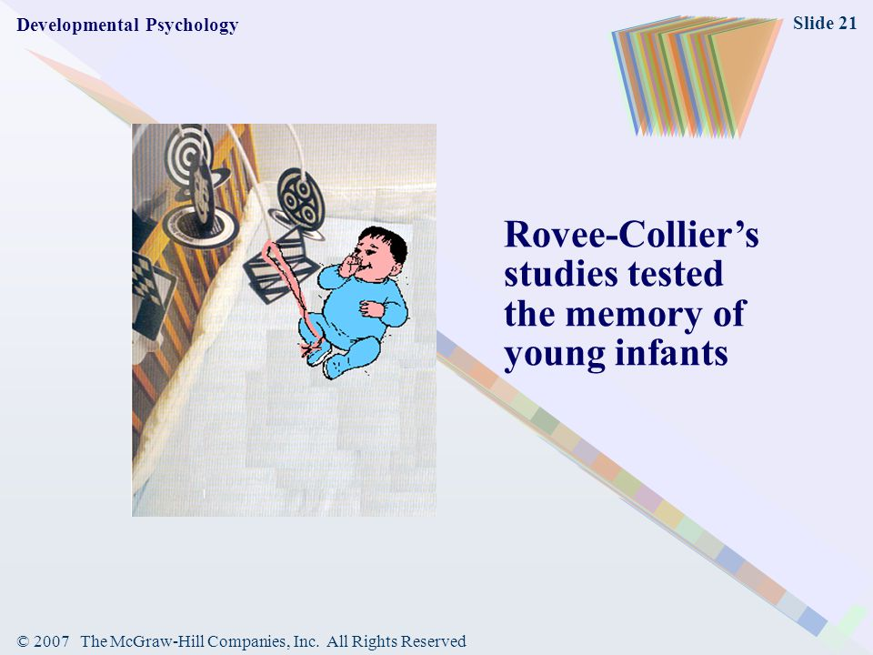 Rovee-Collier's studies tested the memory of young infants