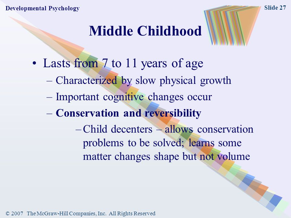 Middle Childhood Lasts from 7 to 11 years of age