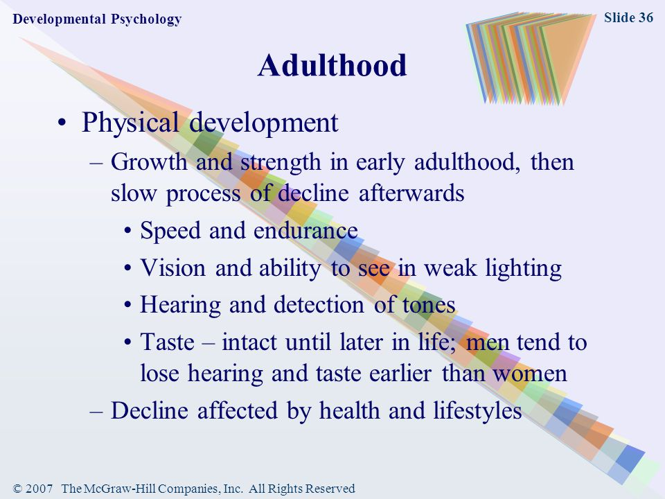 Adulthood Physical development