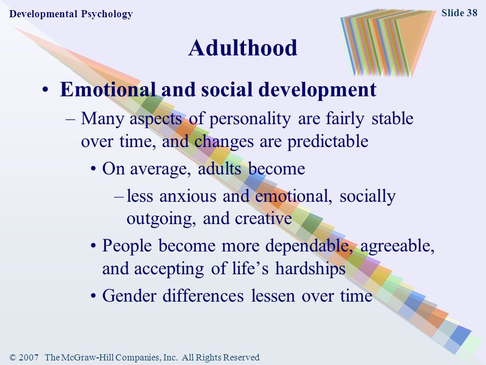 Adulthood Emotional and social development