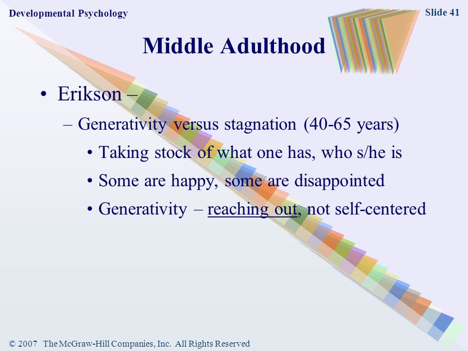 Middle Adulthood Erikson –