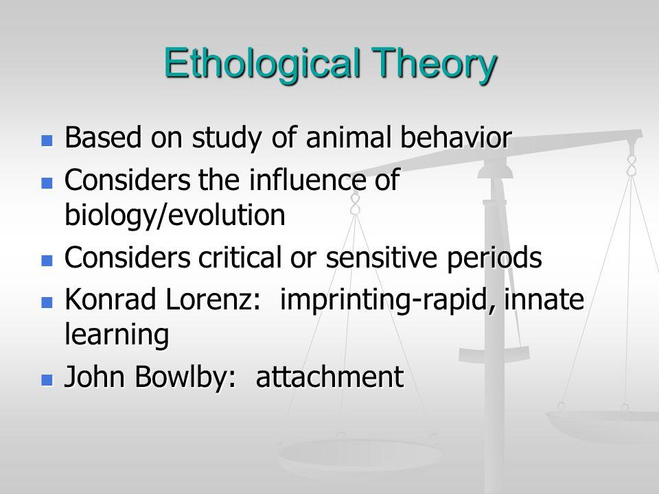 Ethological Theory Based on study of animal behavior