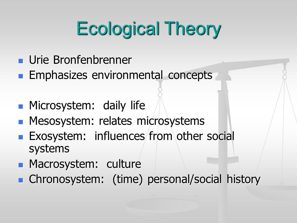 Ecological Theory Urie Bronfenbrenner