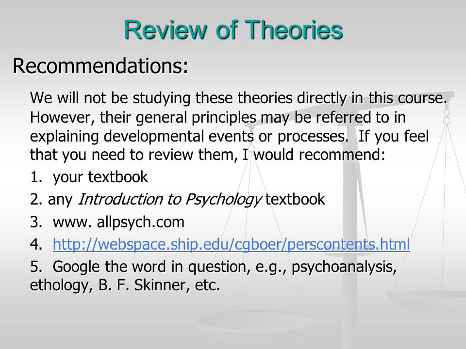 Review of Theories Recommendations: