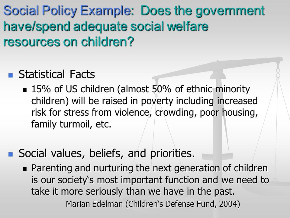 Social Policy Example: Does the government have/spend adequate social welfare resources on children