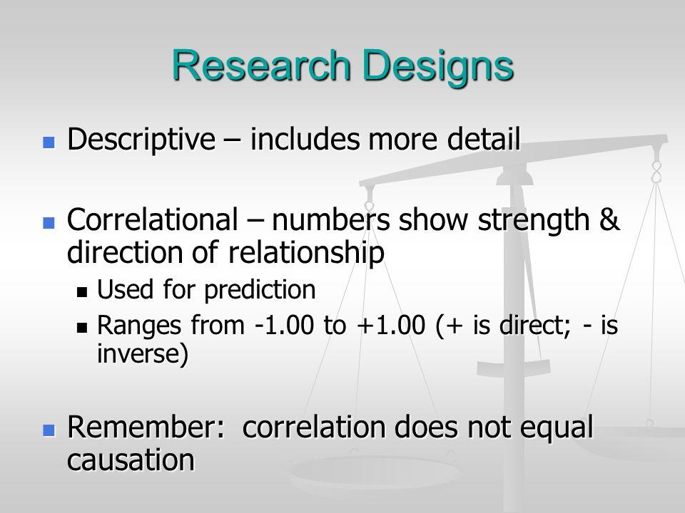 Research Designs Descriptive – includes more detail