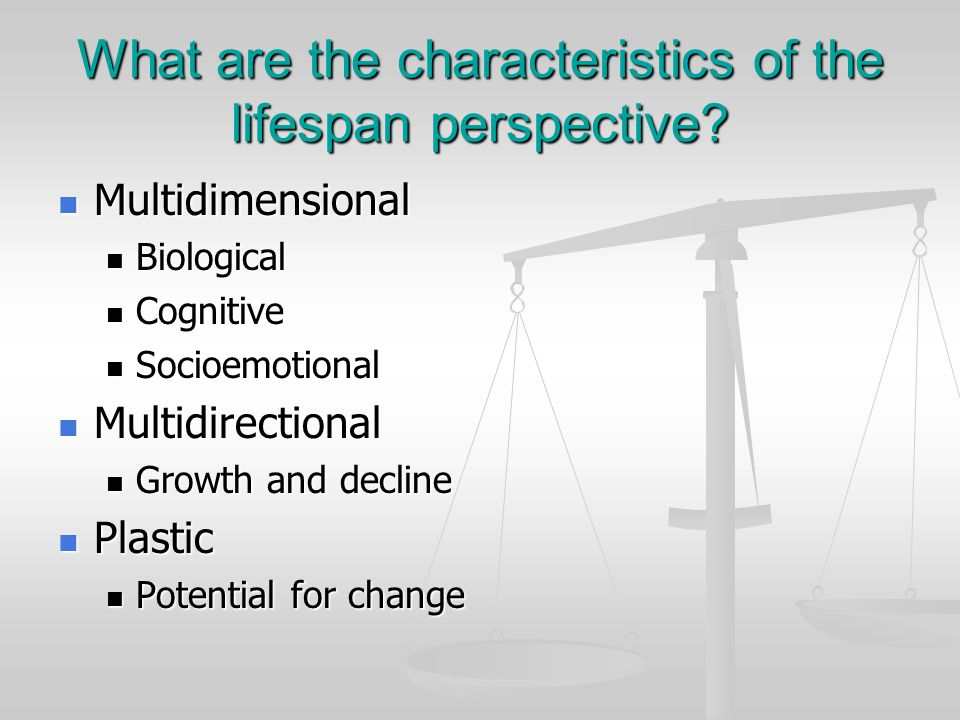 What are the characteristics of the lifespan perspective