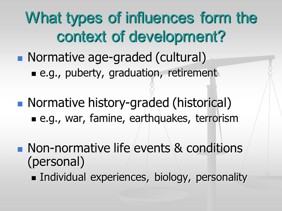 What types of influences form the context of development