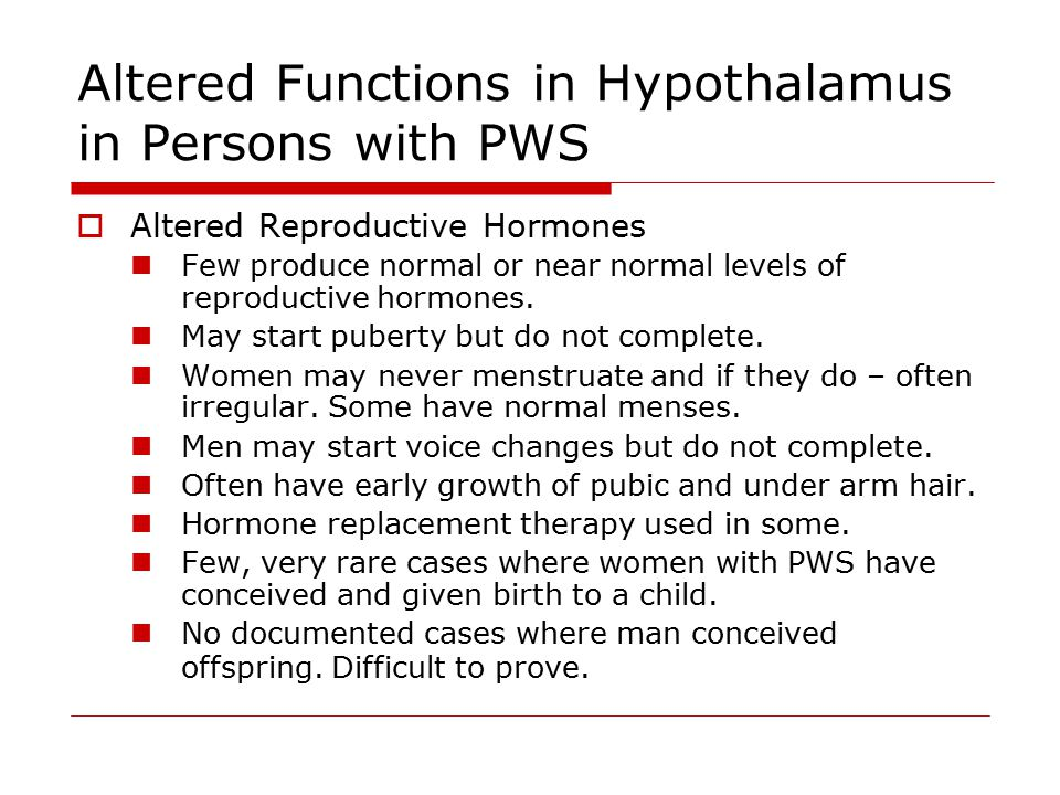 Altered Functions in Hypothalamus in Persons with PWS