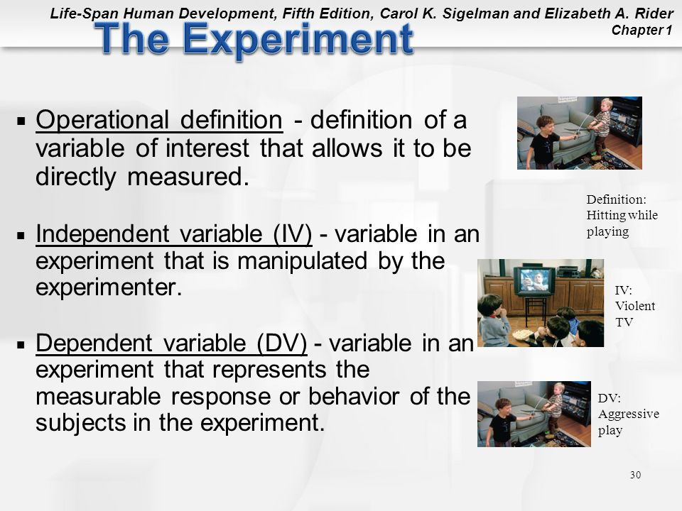 The Experiment Operational definition - definition of a variable of interest that allows it to be directly measured.