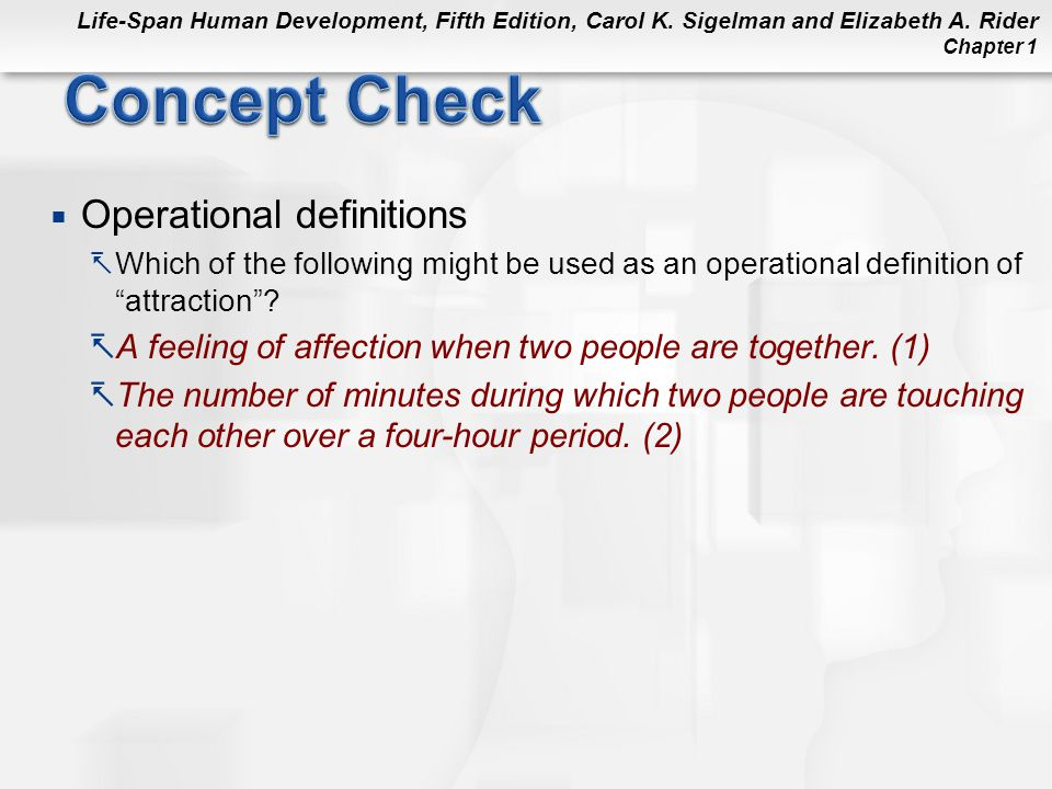 Concept Check Operational definitions
