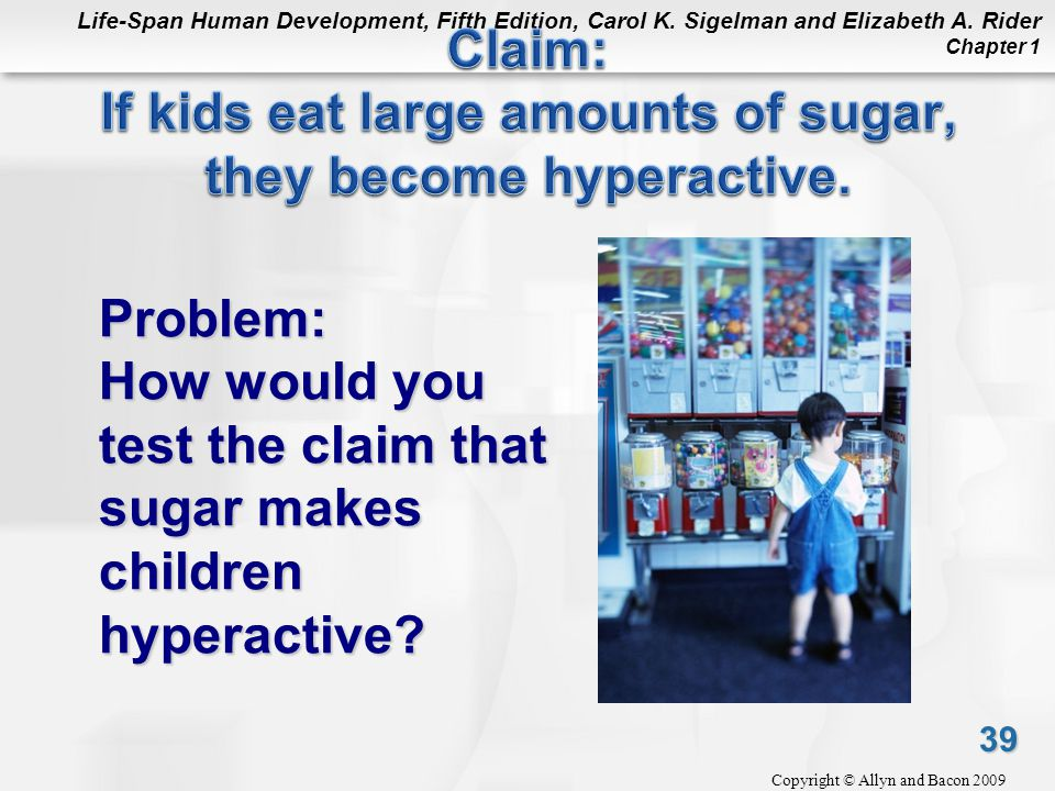 Claim: If kids eat large amounts of sugar, they become hyperactive.