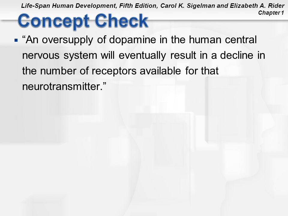 Concept Check An oversupply of dopamine in the human central