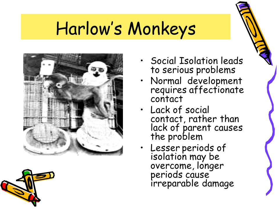 Harlow's Monkeys Social Isolation leads to serious problems
