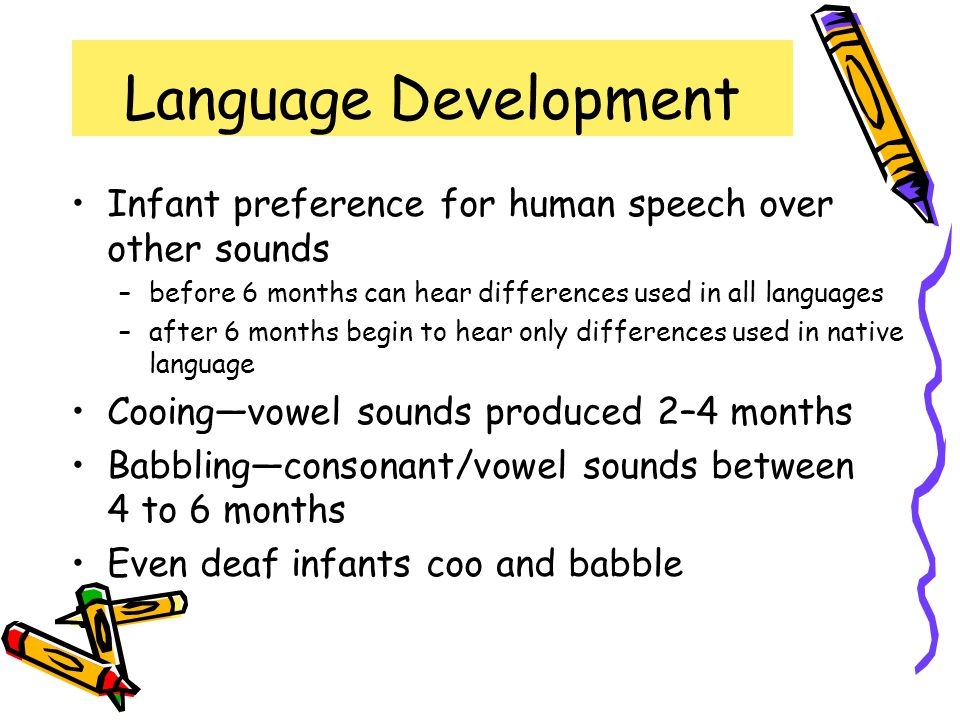 Language Development Infant preference for human speech over other sounds. before 6 months can hear differences used in all languages.