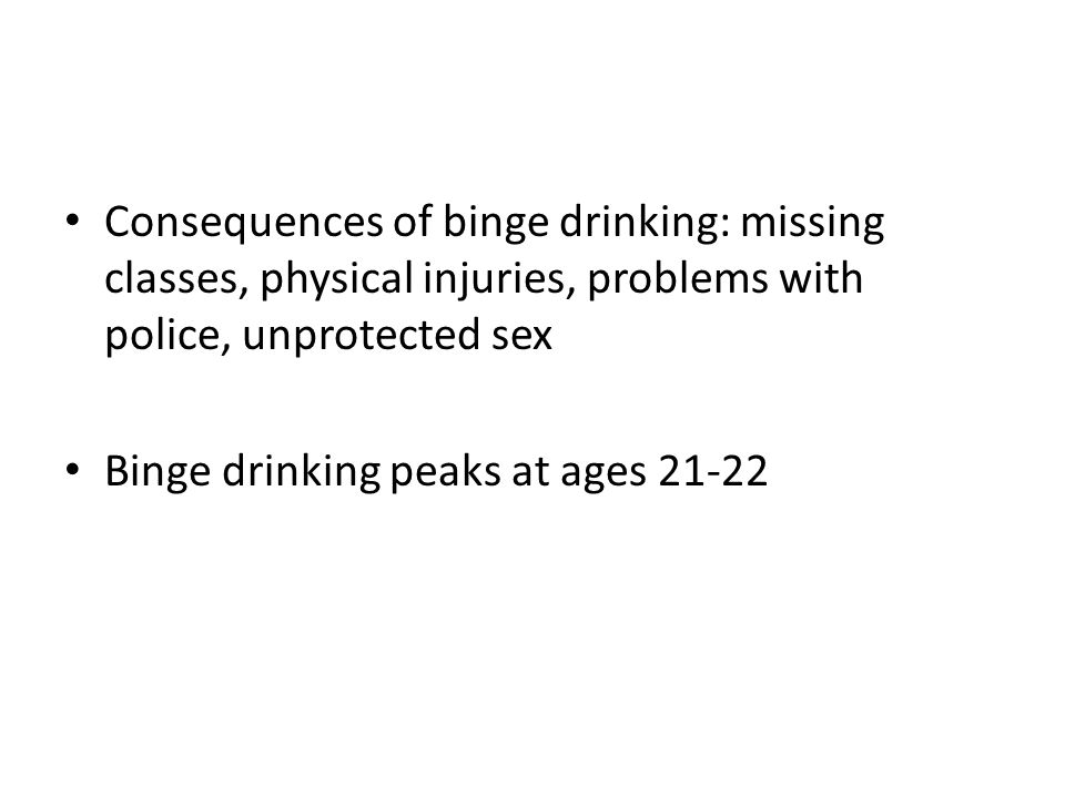Consequences of binge drinking: missing classes, physical injuries, problems with police, unprotected sex