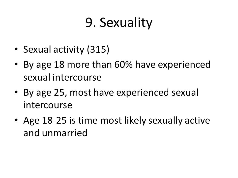 9. Sexuality Sexual activity (315)