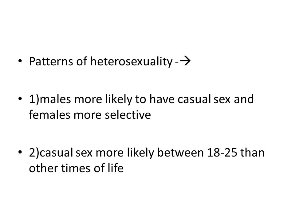 Patterns of heterosexuality -